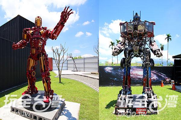 活靈活現的鋼鐵人霸氣地舉起手,右邊的五金守護金鋼是梁乃元的第一個大型鐵雕機器人/玩全台灣旅遊網攝