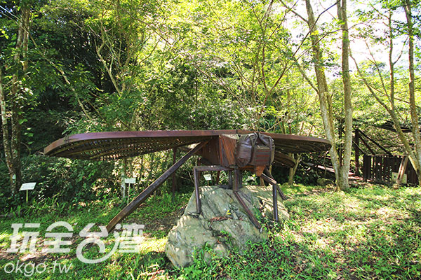 巨大的竹製蜻蜓停駐於草地,相當吸睛/玩全台灣旅遊網攝