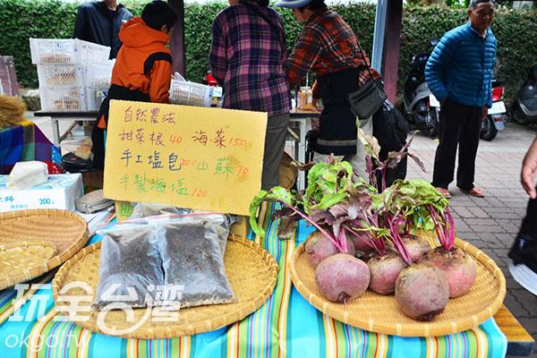採自然農法種植的當季蔬果/玩全台灣旅遊網特約記者蔣汶晏攝