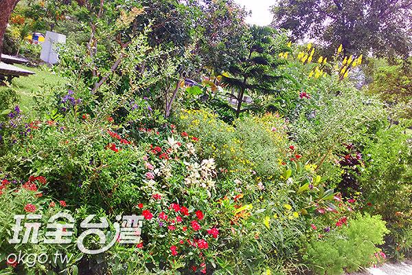 各色紛陳的花叢在美術館入口處迎接賓客到來/玩全台灣旅遊網特約記者蔡佩珊攝