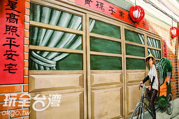 將人力黃包車彩繪上牆/玩全台灣旅遊網特約記者陳健安攝