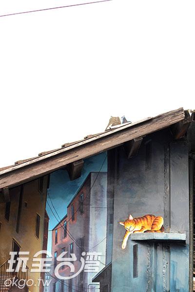 彩繪也結合既有牆面造型,打造出似真似假的場景/玩全台灣旅遊網攝