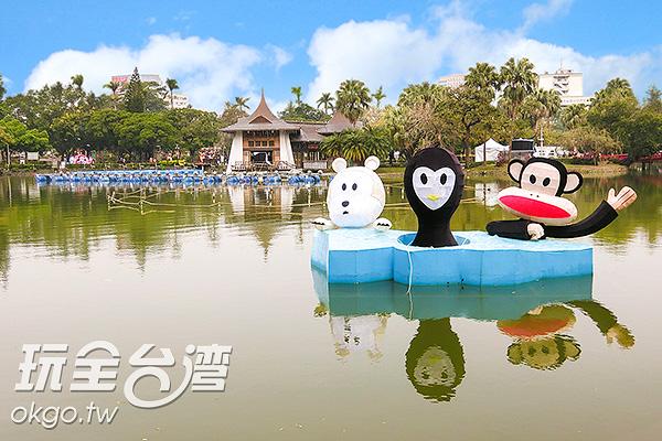 可愛的動物們划著獨木舟/玩全台灣旅遊網特約記者陳健安攝