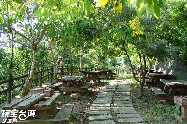 一塊塊的石階組成步道,一旁茂密的林木提供良好的遮蔽/玩全台灣旅遊網攝