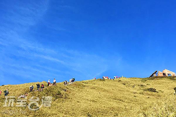 遊客沿著陡峭的步道登上合歡群峰的山稜線/黃麗雯老師提供