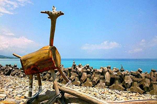 在防坡堤上眺望三仙台的木頭羊/玩全台灣旅遊網特約記者蔡忻容攝