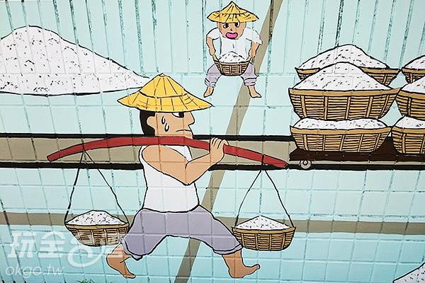 辛勤挑鹽的鹽田村居民/玩全台灣旅遊網特約記者蔡忻容攝