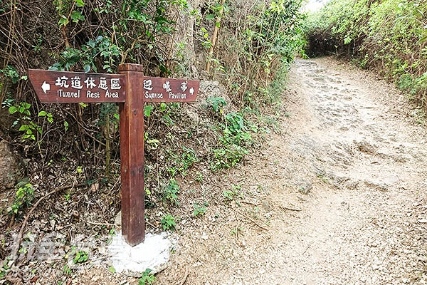 行走不用10分鐘的時間,會看到迎曦亭與坑道休息區的指標/玩全台灣旅遊網特約記者蔡忻容攝