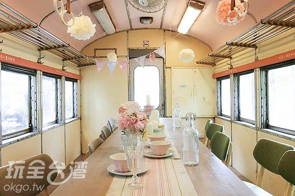 造景車廂內充滿浪漫的粉色調/玩全台灣旅遊網特約記者陳健安攝