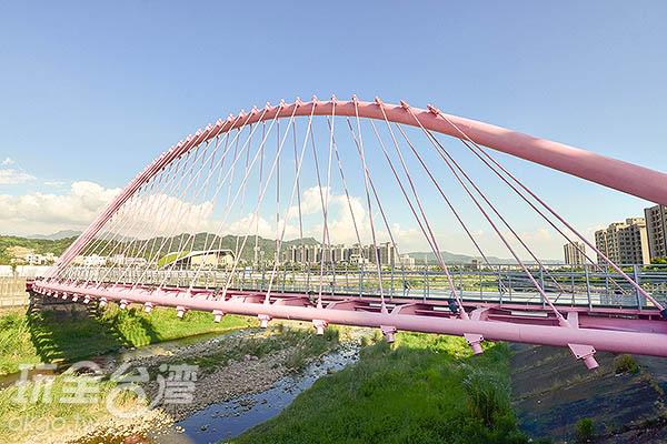 由無數個粉色鋼索形成的斜張橋/玩全台灣旅遊網特約記者陳健安攝