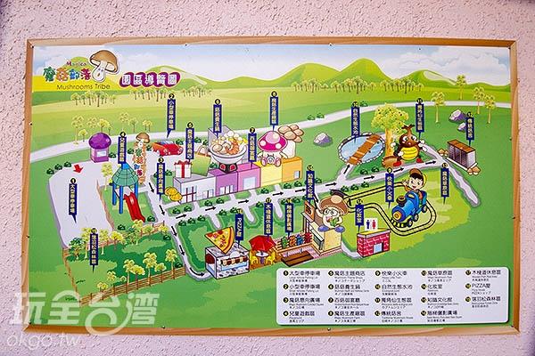 園區導覽地圖,從入口走到底約莫20分鐘/玩全台灣旅遊網特約記者陳健安攝