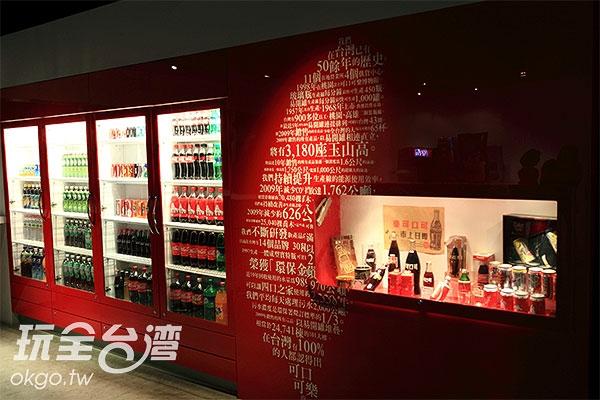 展示各種可口可樂公司所出品的飲料/玩全台灣旅遊網特約記者A-he攝