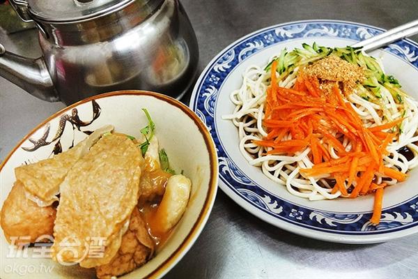 甜不辣(附湯)和涼麵是店裡的兩大招牌。/玩全台灣旅遊網特約記者阿辰攝