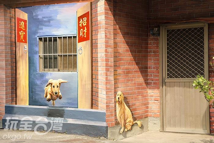 以假亂真的彩繪,哪一面才是真的紅磚牆?/玩全台灣旅遊網特約記者陳健安攝