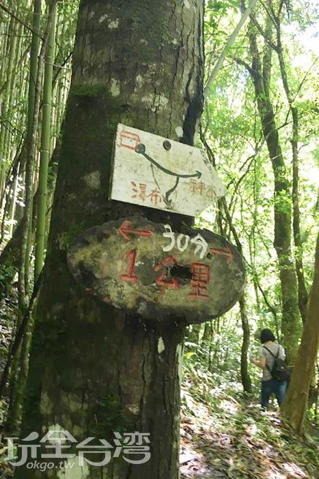 看到這個標示異常的興奮,因為表示只要再走1公里就可以看見巨大的神木群了。/玩全台灣旅遊網特約記者smallting攝