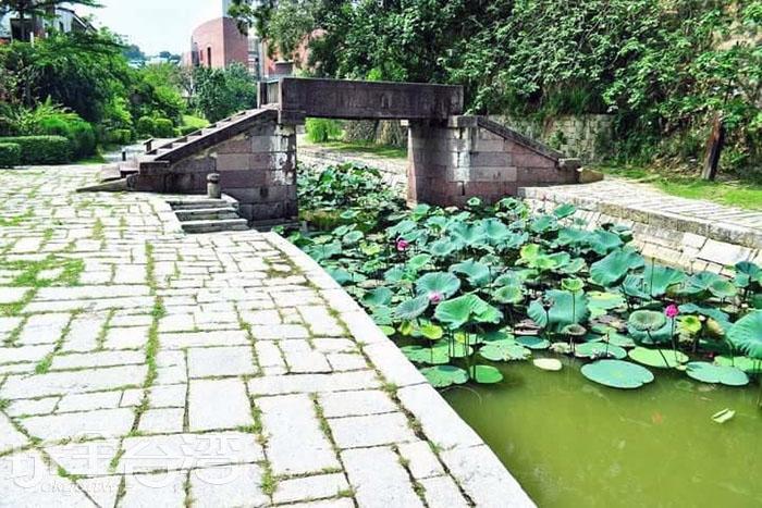 遠方那端是宋元時期的同安橋,是由浙江餘姚搬運而來,厚實橋身與纖纖流水相映成趣。/玩全台灣旅遊網特約記者smallting攝