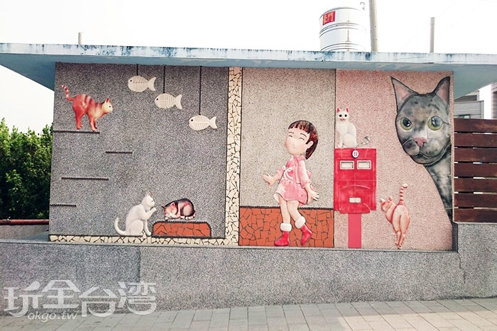 以貓咪為主題的窯燒牆/玩全台灣旅遊網特約記者蔡忻容攝