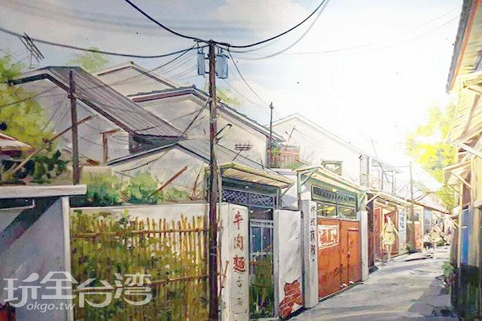 超仿真的眷村街道,一下子就把大家領帶至光陰的故事中。/玩全台灣旅遊網特約記者攝