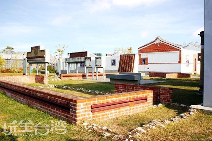 紅毛港文化園區使用仿古的建築技法,呈現出過去的紅毛港聚落。/玩全台灣旅遊網特約記者攝