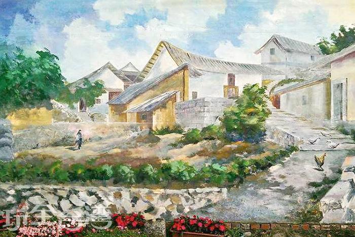 這是幅相當寫實的風景彩繪,圖案非常栩栩如生。/玩全台灣旅遊網特約記者攝