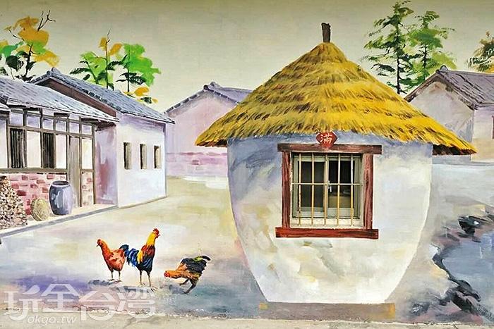 這幅彩繪作品巧妙的利用窗戶作為穀倉的一部分,展現出農家樂的景象。/玩全台灣旅遊網特約記者攝