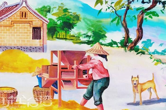 三合院家平靜恬淡的農業生活在彩繪中便能略窺一二。/玩全台灣旅遊網特約記者攝