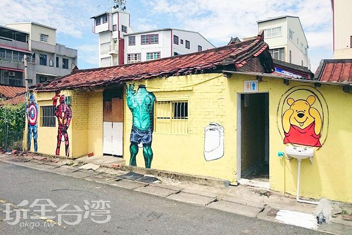 連廁所也融合了其他卡通或電影人物,到處都充滿創意與喜感。/玩全台灣旅遊網特約記者蔡忻容攝