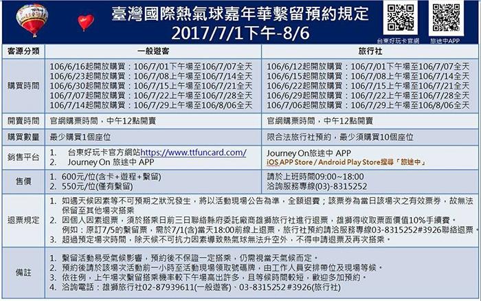 相關預約規定/台灣熱氣球嘉年華粉絲頁提供