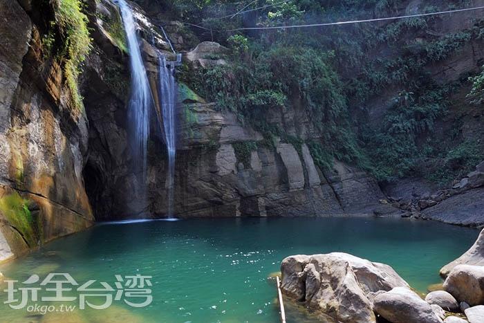 一看就讓人覺得清幽的美麗瀑布/玩全台灣旅遊網特約記者吳明倫攝