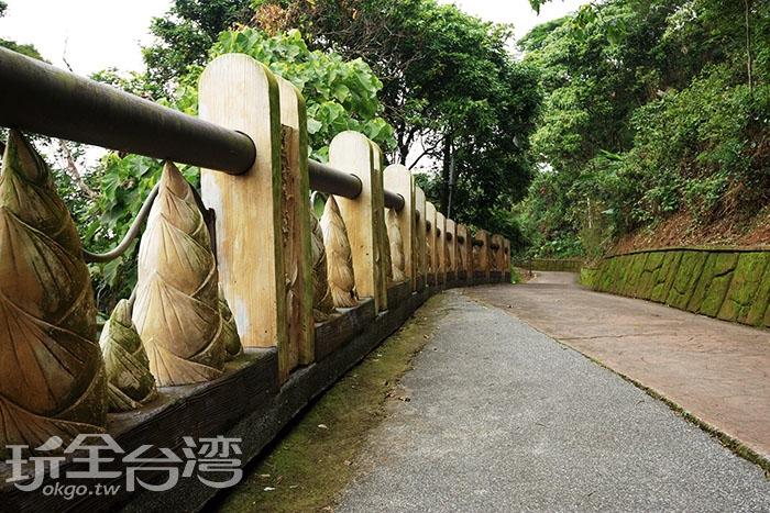 七號步道旁有著當地特色竹筍造景/玩全台灣旅遊網特約記者吳明倫攝