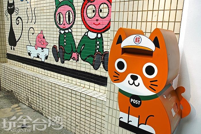 貓巷內最吸睛的非屬這個可愛的貓咪郵筒,只有在甲仙才看得到喔!/玩全台灣旅遊網特約記者阿辰攝