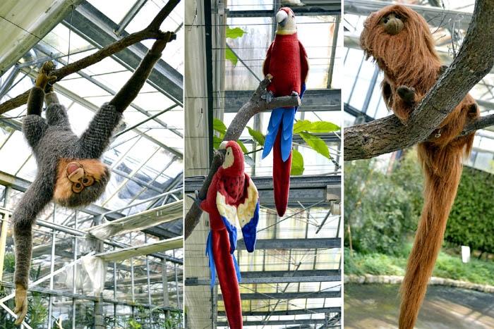 園區打造成熱帶雨林的樣貌,走在園區內處處可見到不少的動物出沒,不過這些動物都是布偶製成的拉,園方還會標示動物的名稱,讓參觀之餘,多點小樂趣!/玩全台灣旅遊網特約記者阿辰攝