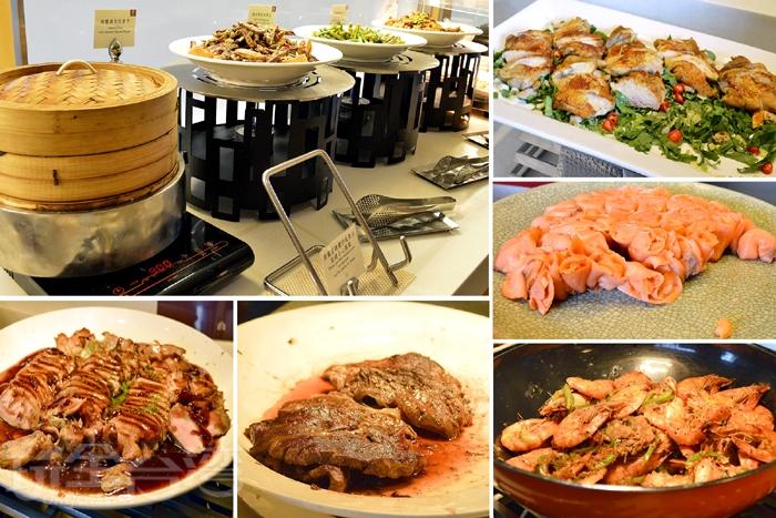 香料胡椒奶油蝦、爐烤德國豬腳、現煎澳洲肋眼牛、乳酪鴨賞烤脆餅、煙燻鮭魚盤、蘿勒乳酪蕃茄拌...以及各式創意蔬食料理。/玩全台灣旅遊網特約記者阿辰攝