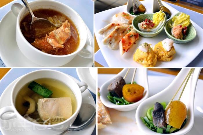 菜色裡也有運用蘭陽在地食材來製作出創意料理,像是香醋櫻桃鴨鄉寶、惺惺相惜一串心。/玩全台灣旅遊網特約記者阿辰攝