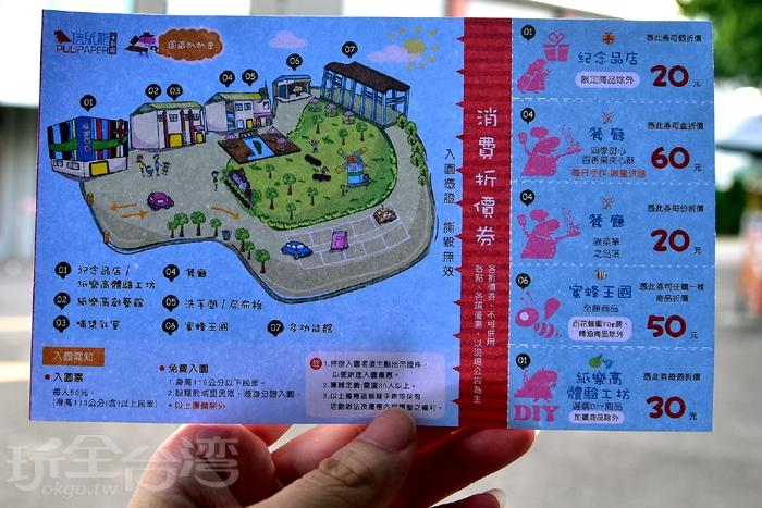 購票後會給一張消費折價券,上面共有5小張,每張優惠皆不同,使用前可先看一下喔!/玩全台灣旅遊網特約記者阿辰攝