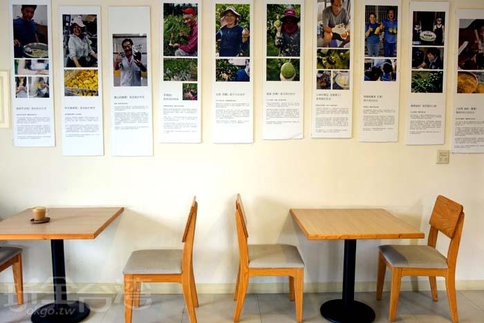 牆面上有著在地小農介紹,看著每張照片上的農民爽朗的笑容也跟著暈染出好心情/玩全台灣旅遊網特約記者阿辰攝