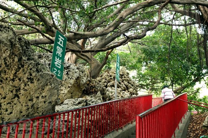 風景區登山處的其中一條入口步道,拾階而上便可清楚看見礁岩山形景觀。/玩全台灣旅遊網特約記者阿辰攝