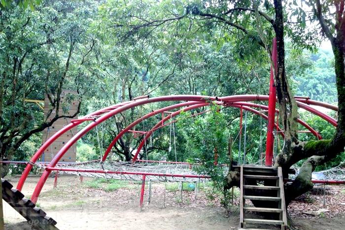 搭建在樹林中的遊樂園,挑戰你的體能極限。/玩全台灣旅遊網特約記者殘月攝