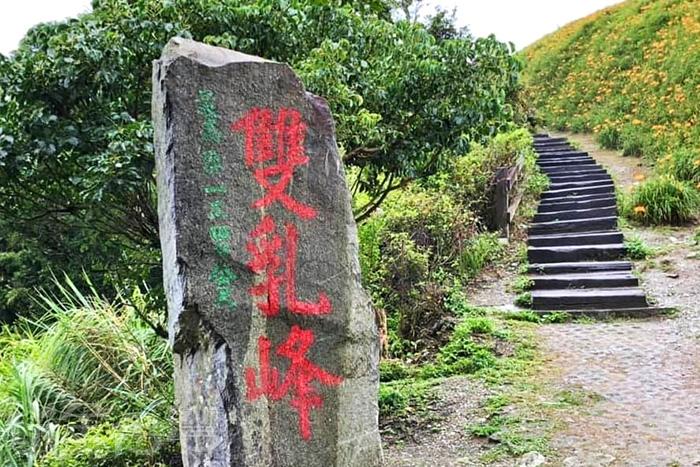 從雙乳峰一側的階梯往上走便可見到期待已久的金針花海。/玩全台灣旅遊網特約記者隱月攝