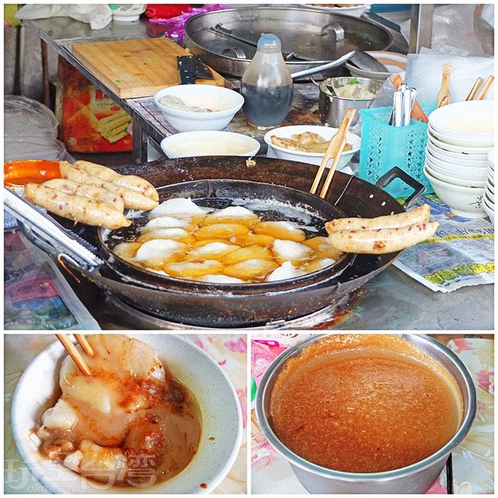 店家的美味精隨來自那獨家特製米漿沾醬。/玩全台灣旅遊網特約記者阿辰攝