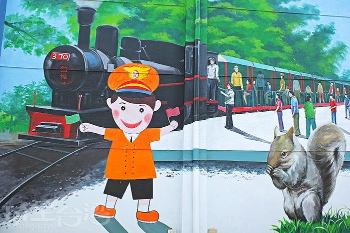 「台灣糖業鐵道文化博物館」牆壁有著早年糖業、甘蔗及鐵道風貌相關的主題彩繪。/玩全台灣旅遊網特約記者阿辰攝