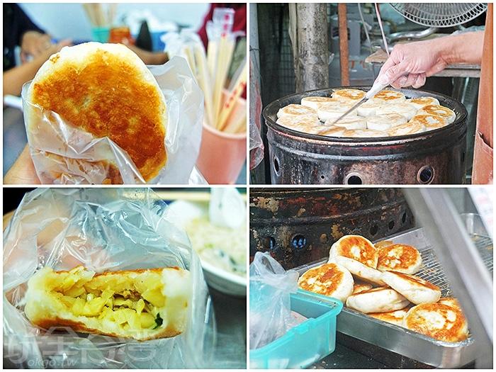 外皮金黃微焦的筍肉煎包,第一口咬開筍丁香撲鼻而來,外皮很紮實、有韌性/玩全台灣旅遊網特約記者阿辰攝