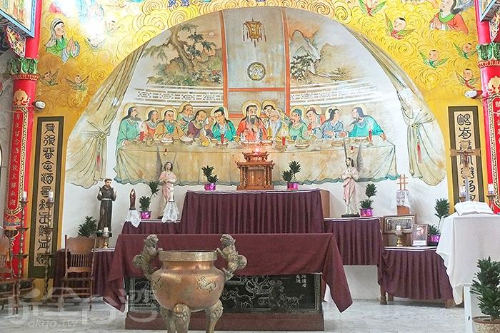 進聖堂內參觀絕不能錯過全世界最獨一無二的東方版《最後的晚餐》,仔細一看,耶穌和十二門徒不一樣了!!!/玩全台灣旅遊網特約記者阿辰攝