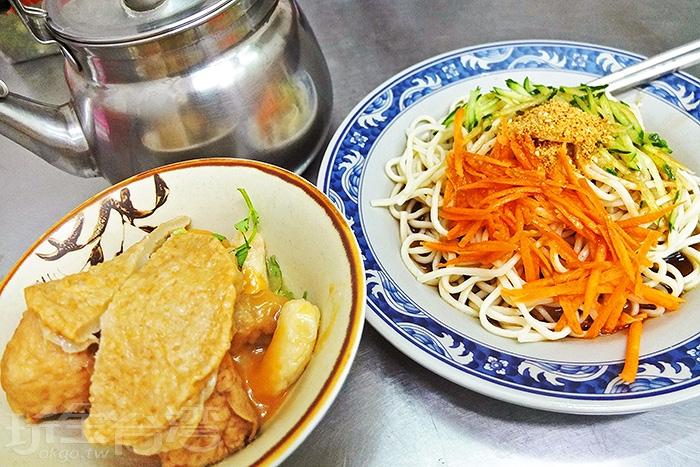 甜不辣(附湯)和涼麵是店裡的兩大招牌。吃甜不辣會附帶裝著高湯的茶壺,這也是「錦衣味」特別的地方。/玩全台灣旅遊網特約記者阿辰攝