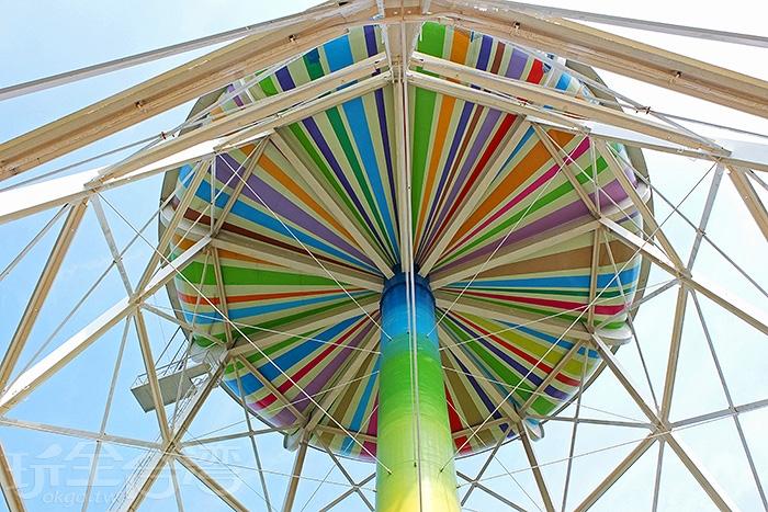 如彩虹般鮮豔亮麗的線條色將水塔裝扮成像一份大禮物,換個角度看,也有人形容是一台彩色的外星飛碟,還真有趣。/玩全台灣旅遊網特約記者阿辰攝