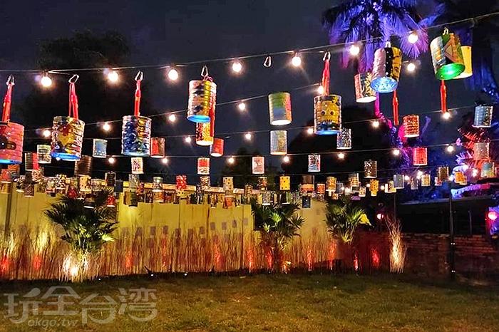 古早味奶粉罐在夜空下已變身為特色花燈。/玩全台灣旅遊網特約記者隱月攝