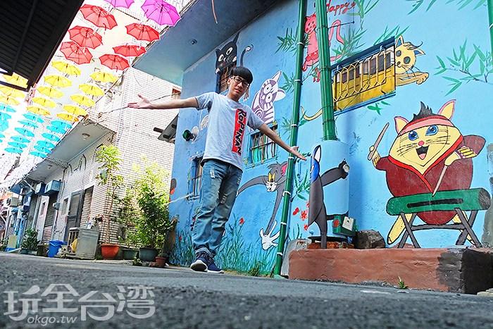 漫步甲仙彩繪貓巷 繽紛貓咪腳印來帶路 貓咪主題塗鴉超好拍!大啖當地名物芋冰、芋粿