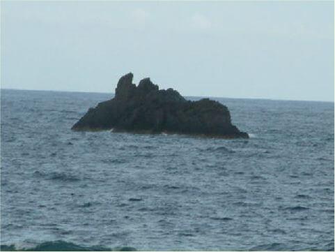 犀牛岩- 位於孔子岩一旁的海面上,到此不彷睜大眼睛找找也許有新的發現。 相片來源:綠島長泰海景民宿
