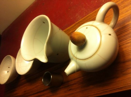 章格銘老師汝釉黑斑正美人茶具組