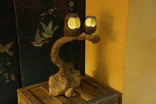 陳新民老師木雕貓頭鷹 樟木 漂流木 金箔